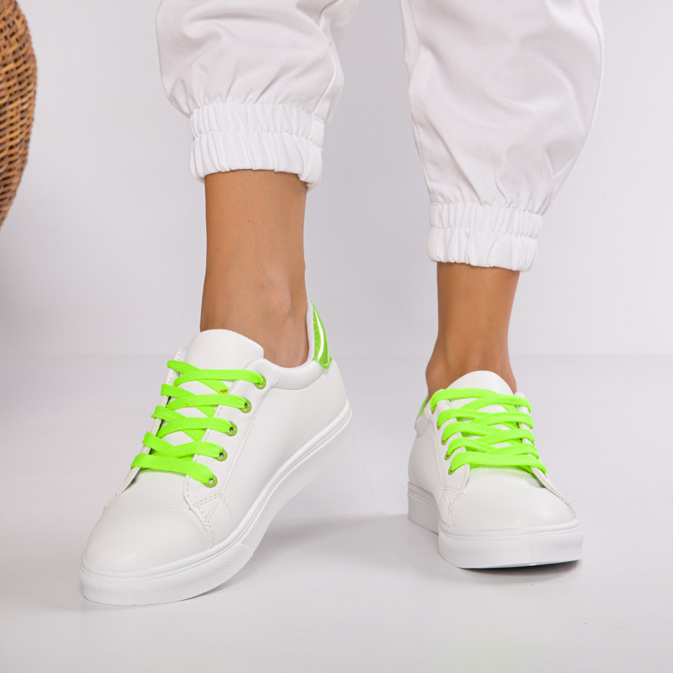 "Pantofi Sport ""MireaFashion"" Cod: HQ-C13 WHITE/GREEN (J16)"