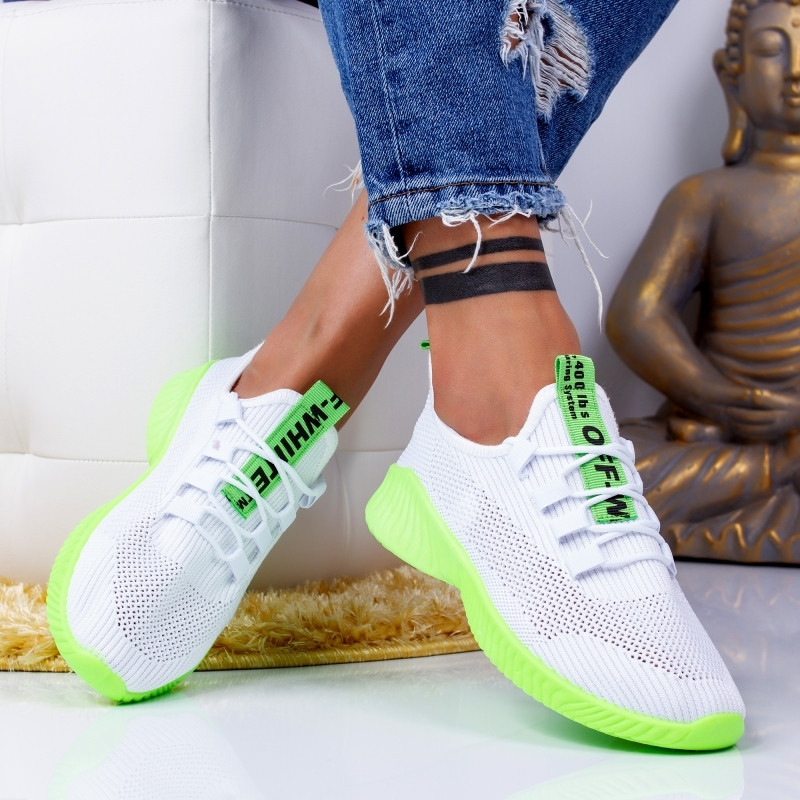 "Pantofi Sport ""MireaFashion"" Cod: ZA-9 WHITE/GREEN (R9)"