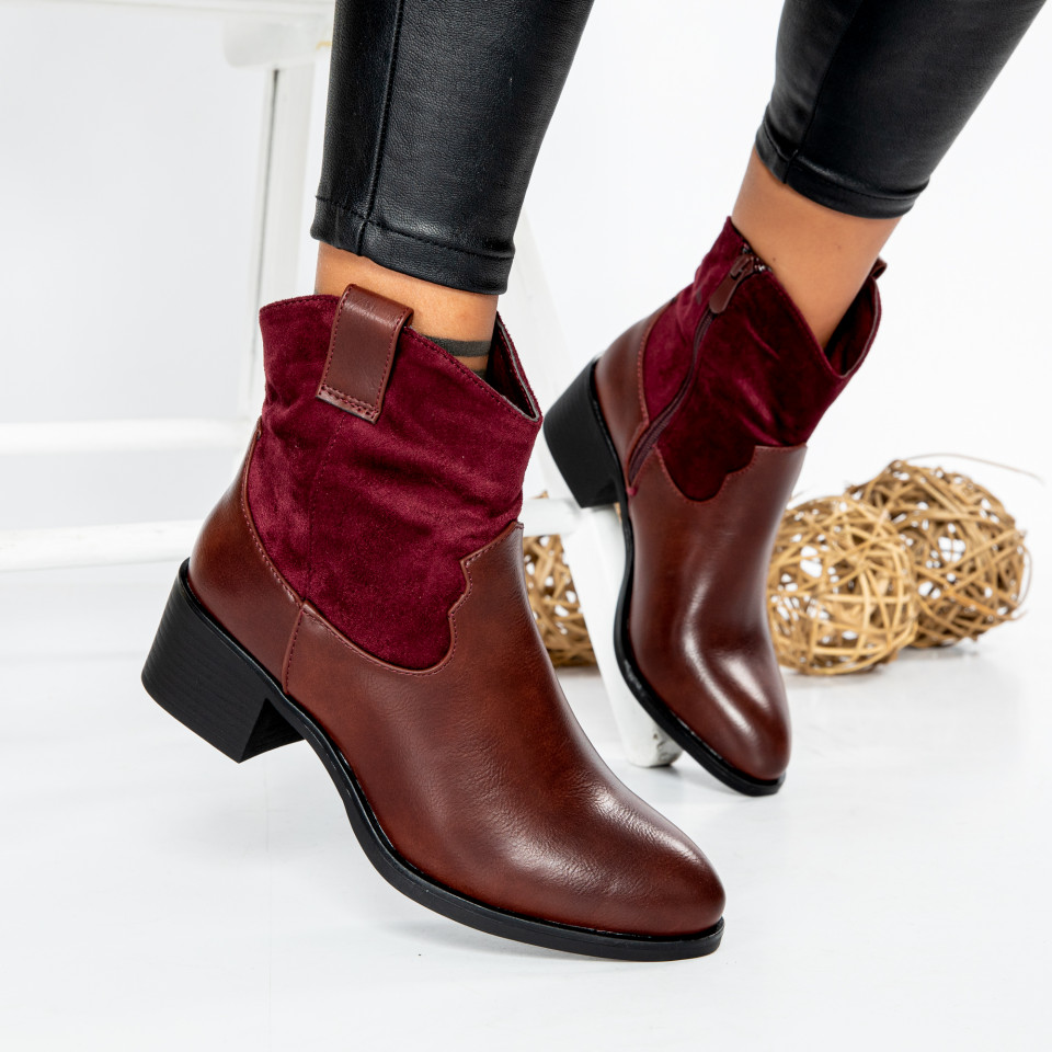 "Botine ""MireaFashion"" cod: SH920 BURGUNDY (UU1)"