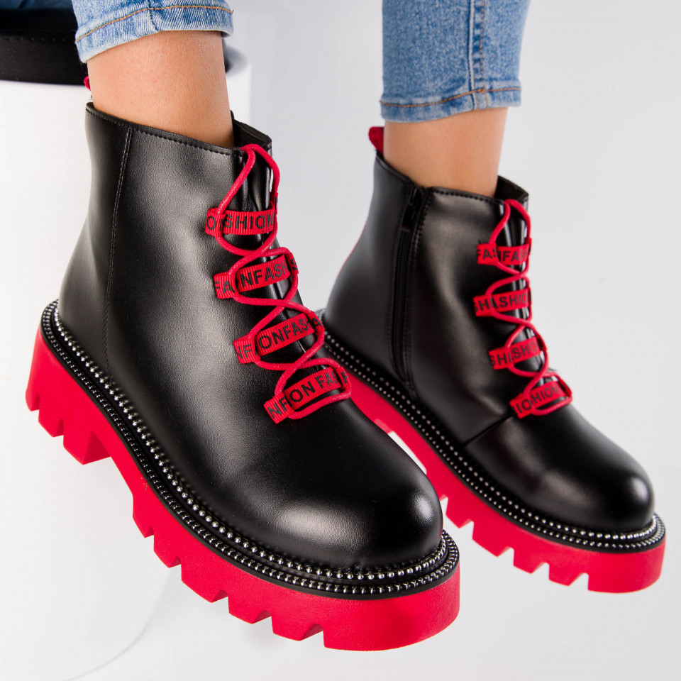 "Ghete ""MireaFashion"" Cod: 2029-2 BLACK/RED (E16)"
