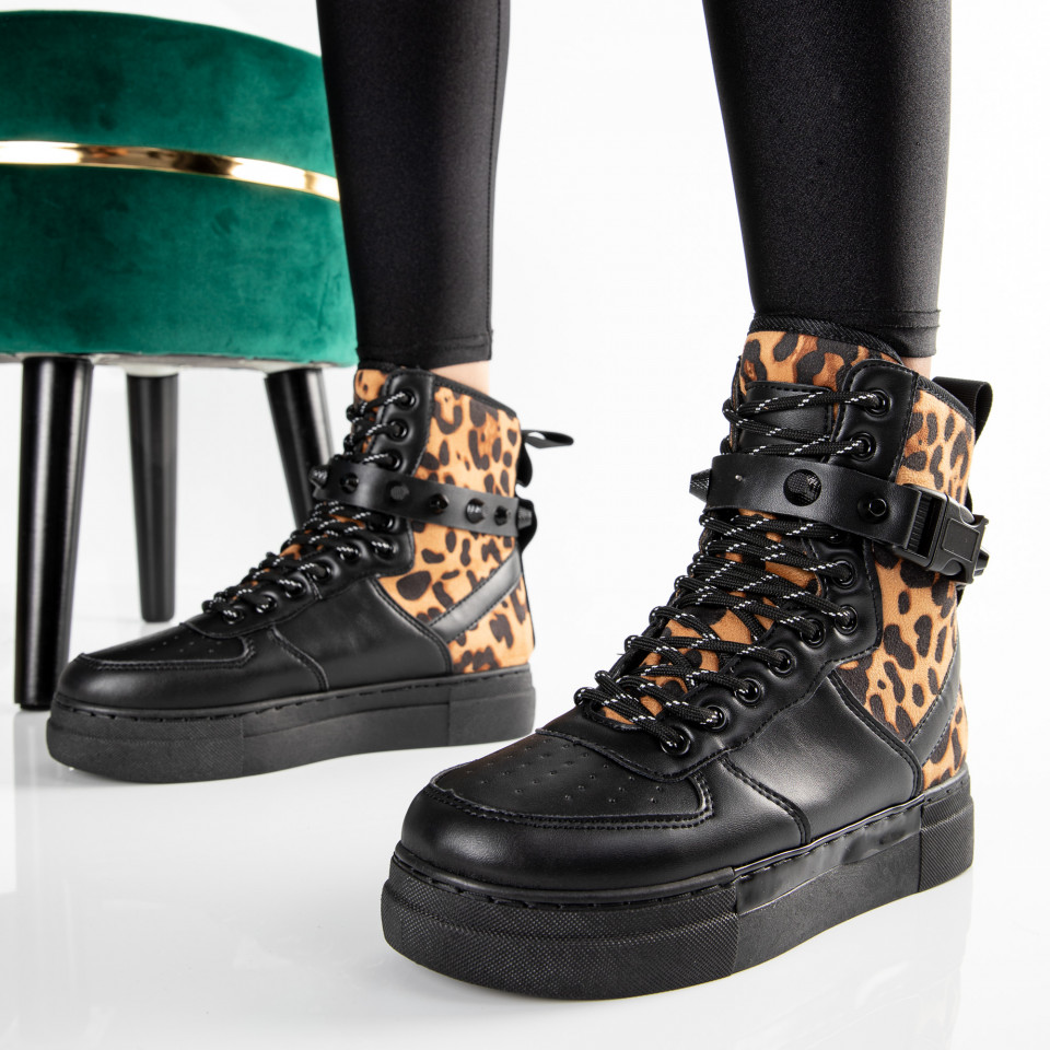 "Ghete ""MireaFashion"" Cod: CB-108 BLACK/LEO (D6)"