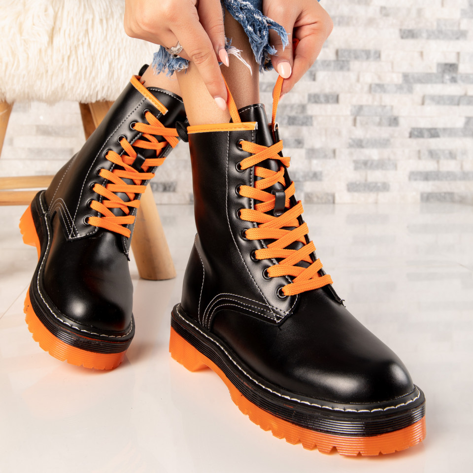 "Ghete ""MireaFashion"" Cod: NX120 BLACK/ORANGE (D9)"