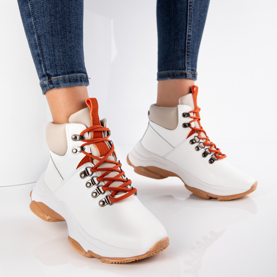 "Ghete ""MireaFashion"" Cod: XJ568 WHITE/ORANGE (F4)"