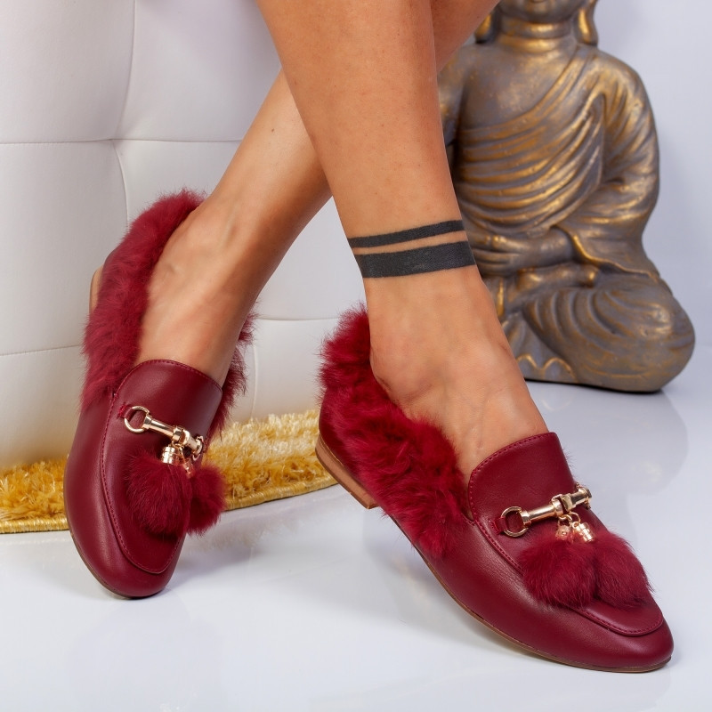 "Pantofi ""MireaFashion"" Cod: HY-6613 WINE (S7)"