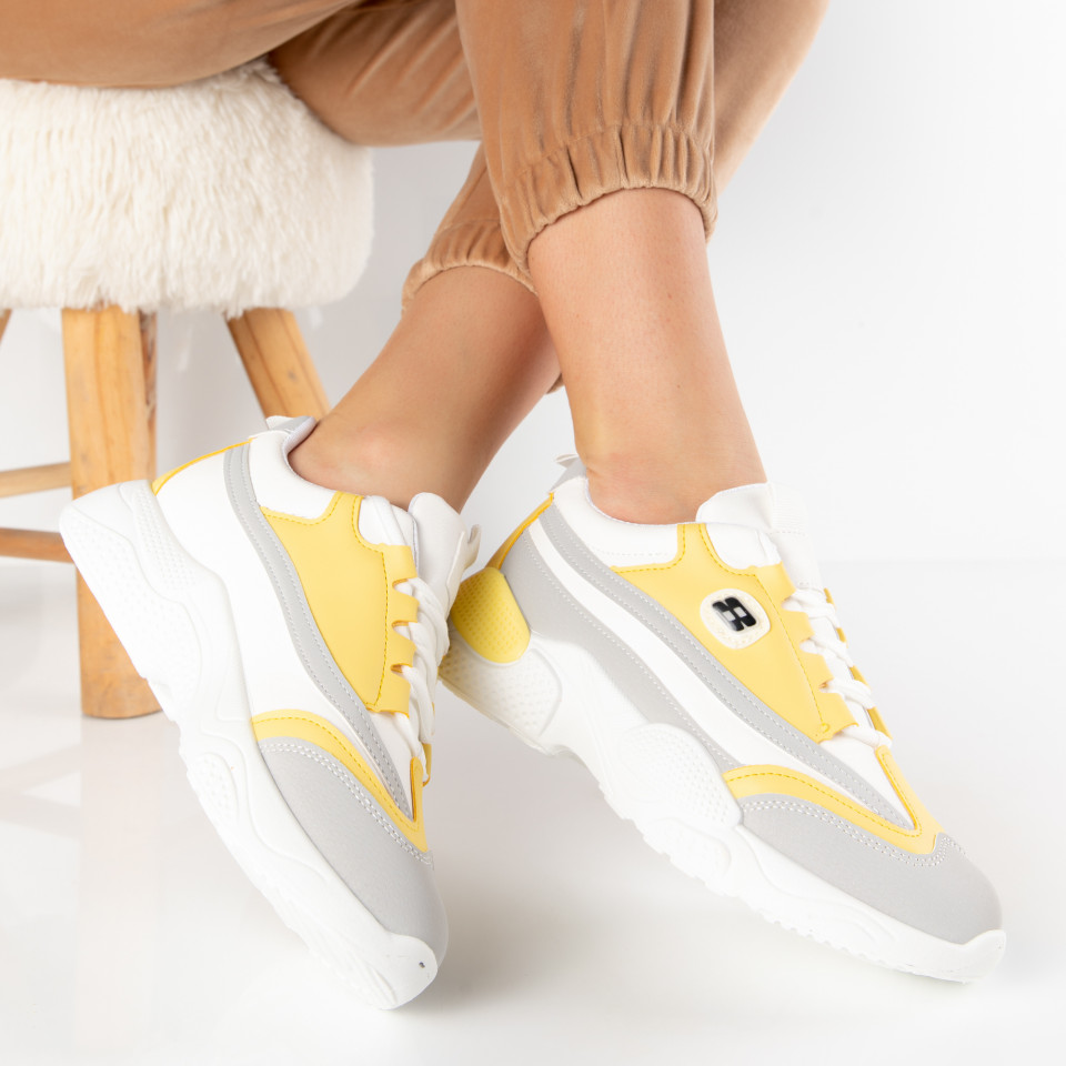 "Pantofi Sport ""MireaFashion"" Cod: H-21 WHITE/YELLOW (O4)"