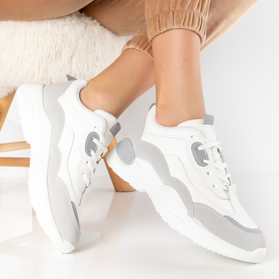 "Pantofi Sport ""MireaFashion"" Cod: H-22 WHITE/GREY (D14)"