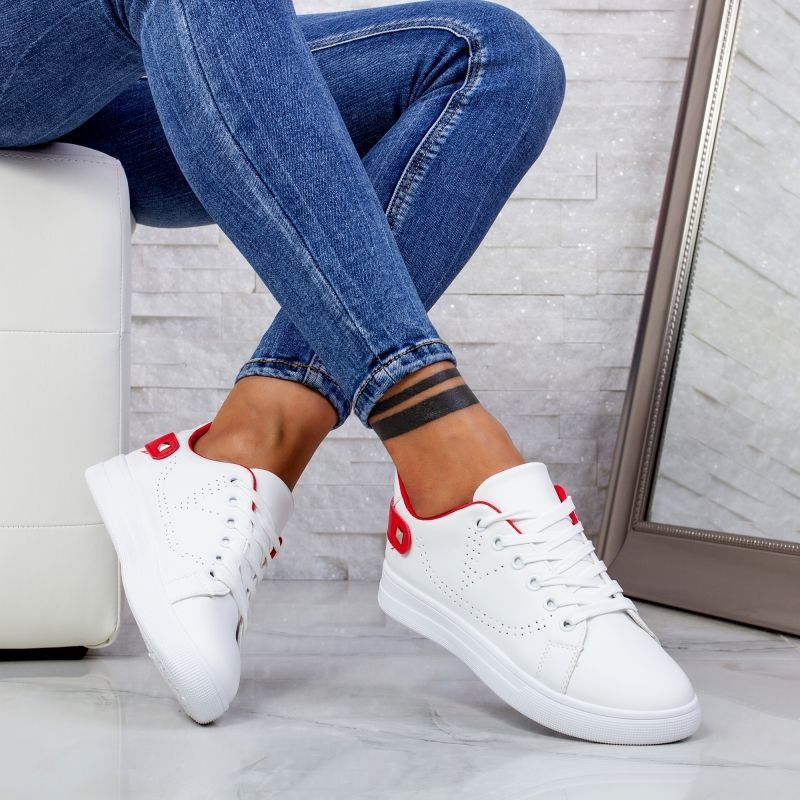 "Pantofi Sport ""MireaFashion"" Cod: J1827 WHITE/RED (AA34)"