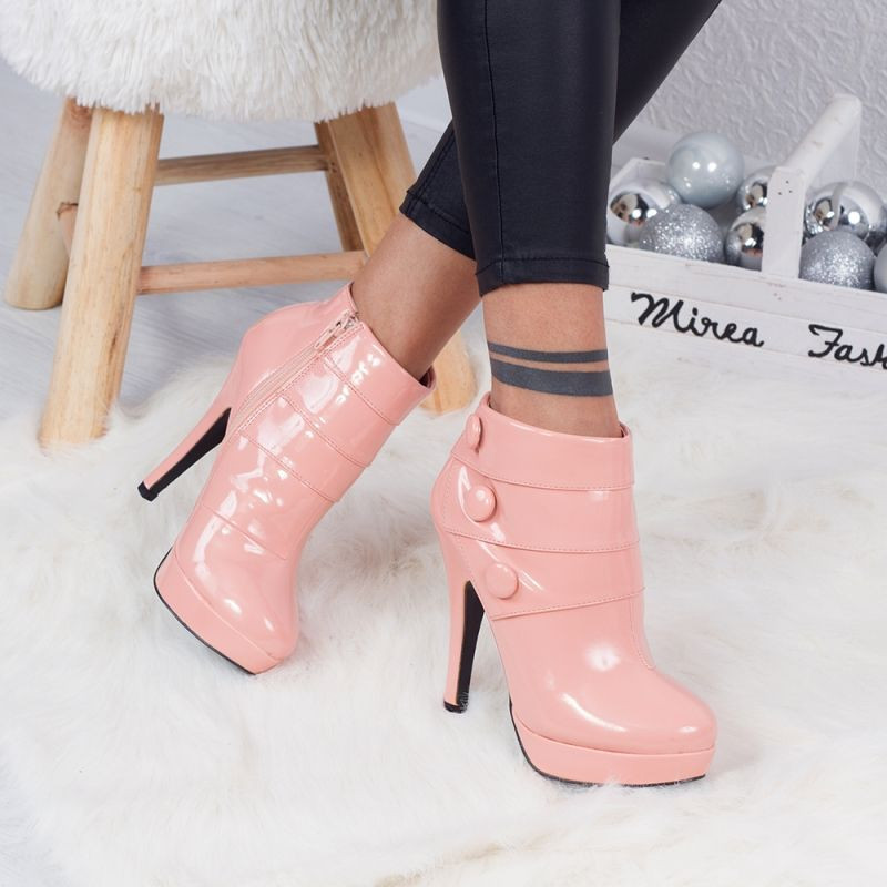 "Botine ""MireaFashion"" Cod: 8359H-67 PINK PAT (EE1)"