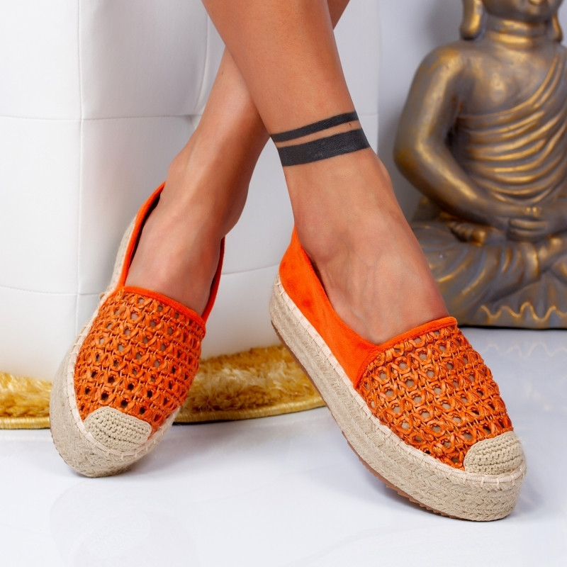 "Espadrile ""MireaFashion"" Cod: 8716 ORANGE (Q13)"