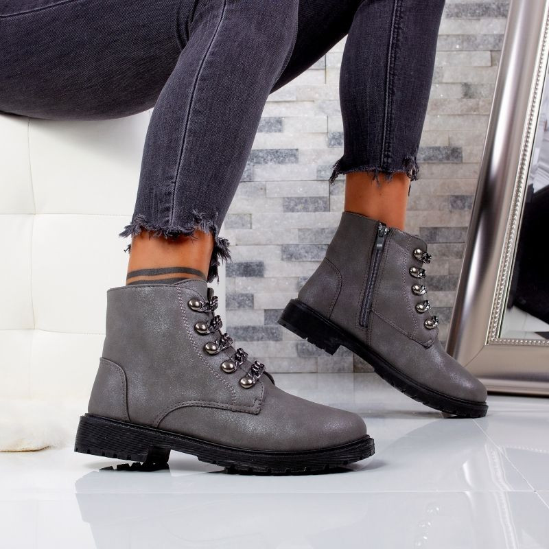 "Ghete ""MireaFashion"" Cod: 3126-2 D. GREY (F8)"