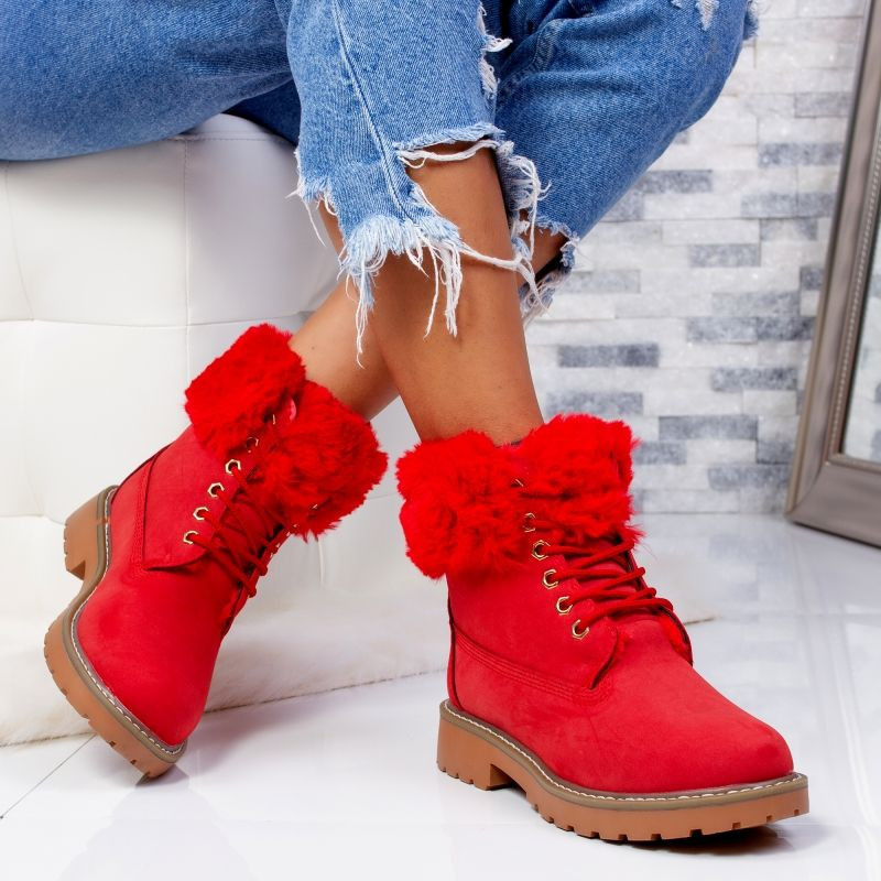 "Ghete ""MireaFashion"" Cod: LT976-6 RED (D2)"