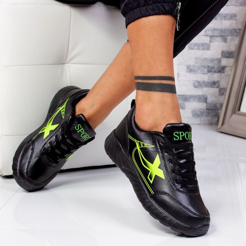 "Pantofi Sport ""MireaFashion"" Cod: 320 BLACK/GREEN (C12)"