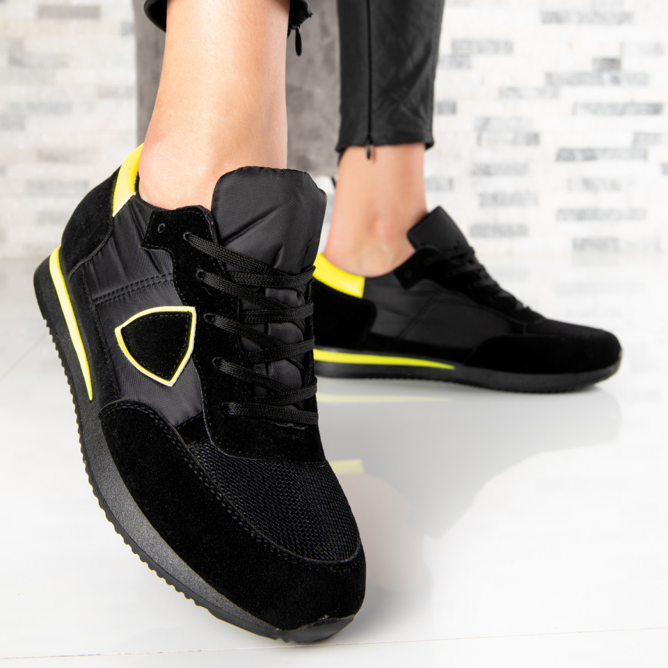"Pantofi Sport ""MireaFashion"" Cod: 5201 BLACK/YELLOW (B15-16)"