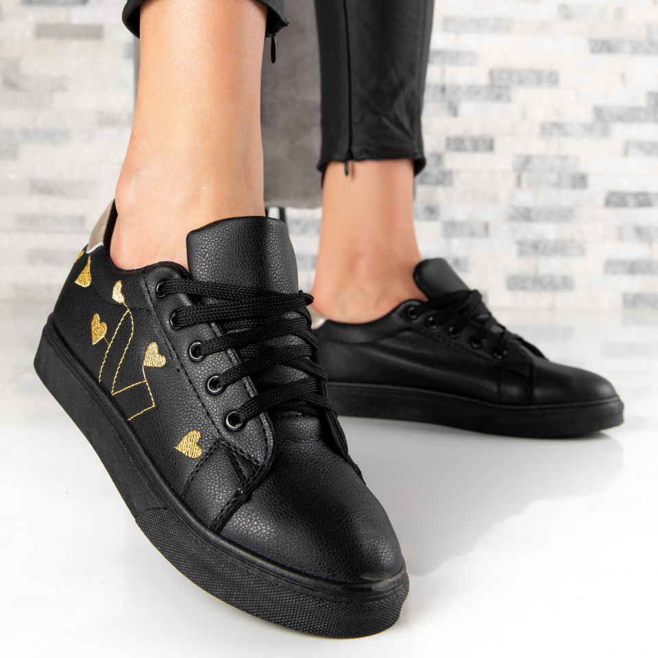 "Pantofi Sport ""MireaFashion"" Cod: 908 BLACK/GOLD (G1)"