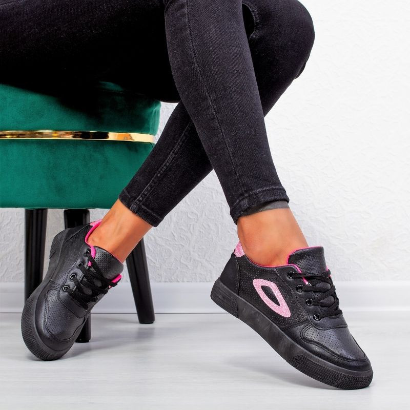 "Pantofi sport""MireaFashion"" Cod: A07 BLACK/PINK (P6)"