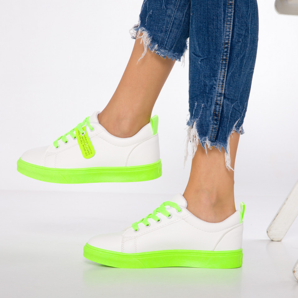 "Pantofi Sport ""MireaFashion"" Cod: HQ-066 WHITE/GREEN (Q6)"