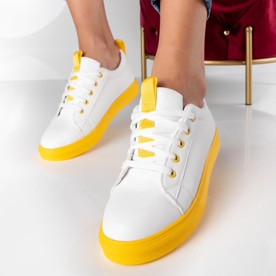 "Pantofi Sport ""MireaFashion"" Cod: HQ-A01 WHITE/YELLOW (P16)"