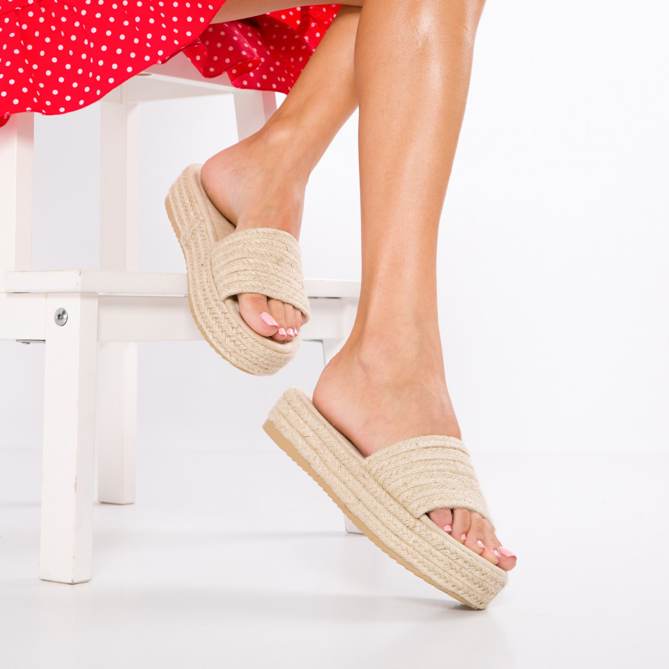 "Papuci ""MireaFashion"" Cod: HY9349 BEIGE (J13)"