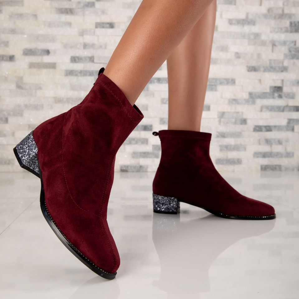 "Botine ""MireaFashion"" cod: BDF0152 WINE (Q8)"