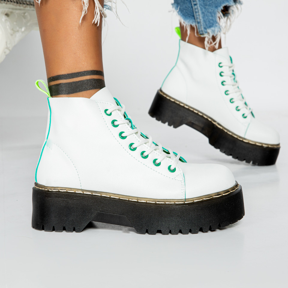 "Ghete ""MireaFashion"" cod: BS-006 WHITE/NEON (O2)"