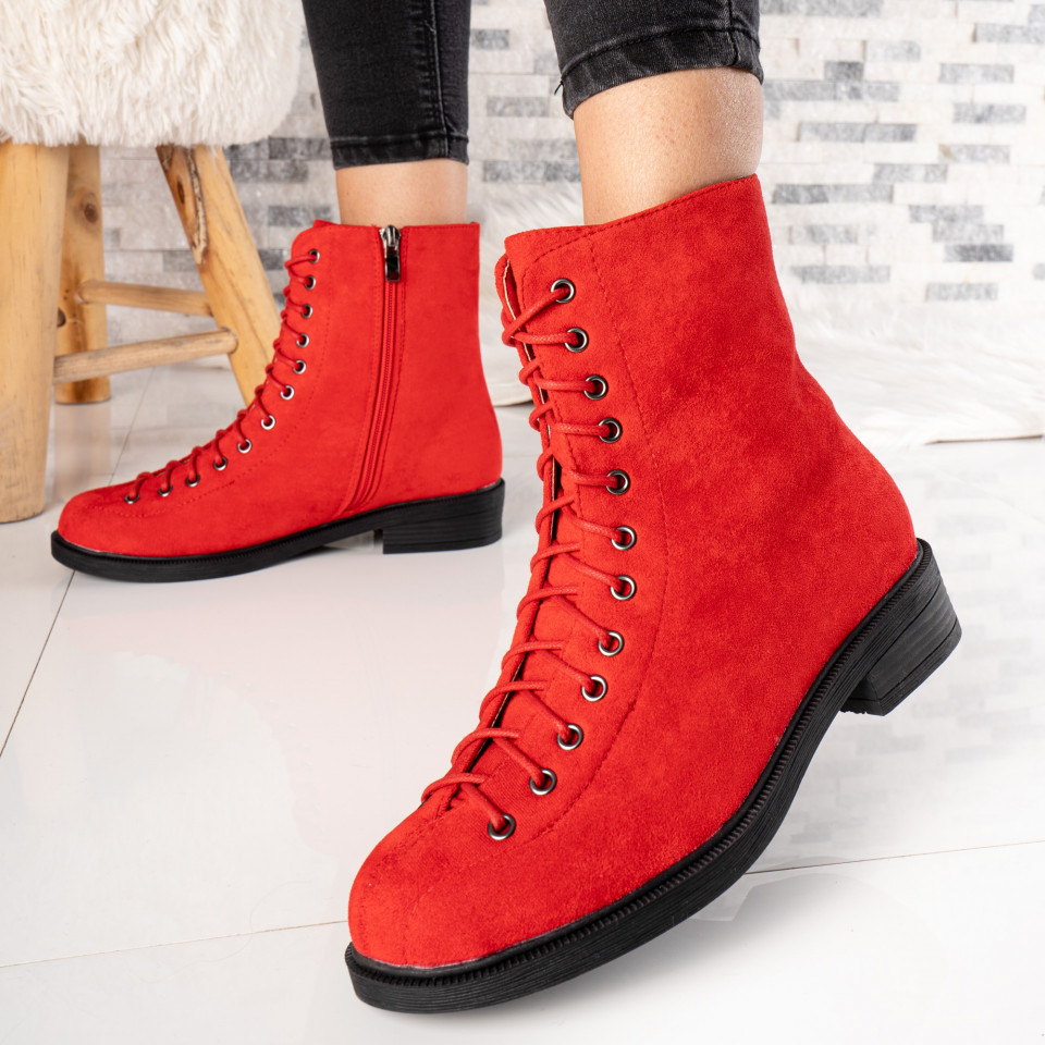 "Ghete ""MireaFashion"" Cod: FB0012 RED SUEDE (E10)"
