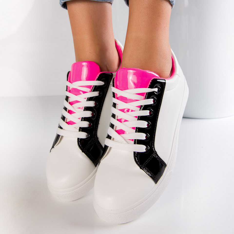 "Pantofi sport""MireaFashion"" Cod: 553-21 WHITE/BLACK (D12)"