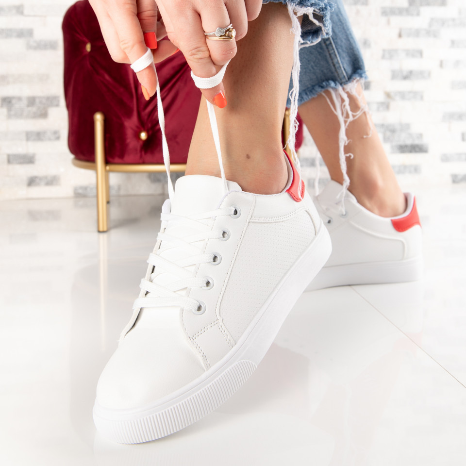 "Pantofi Sport ""MireaFashion"" Cod: 571 WHITE/RED (L15-16)"