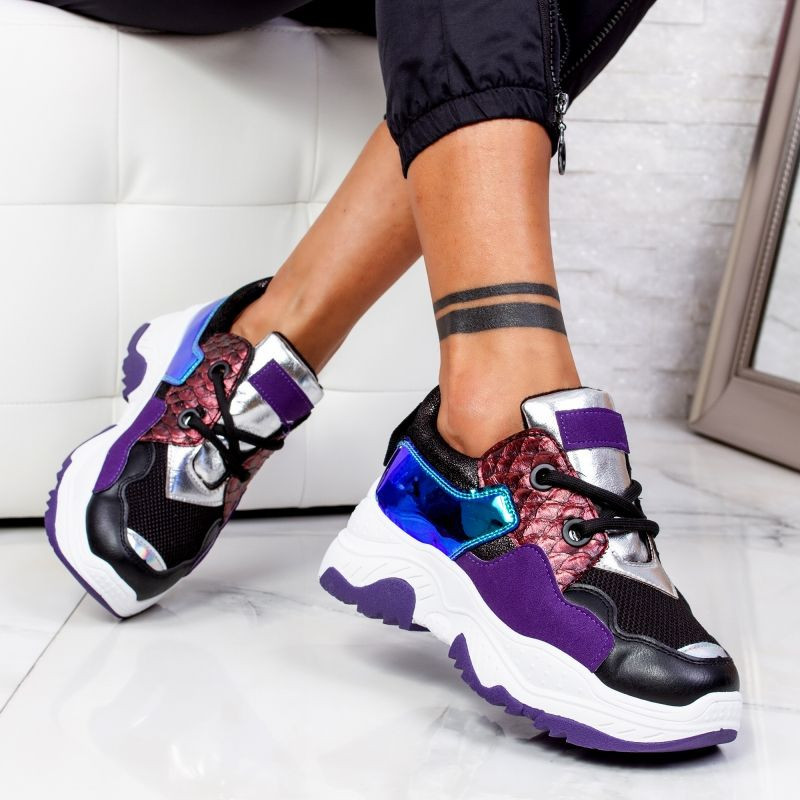 "Pantofi Sport ""MireaFashion"" Cod: AB5601 BLACK/PURPLE (C5)"