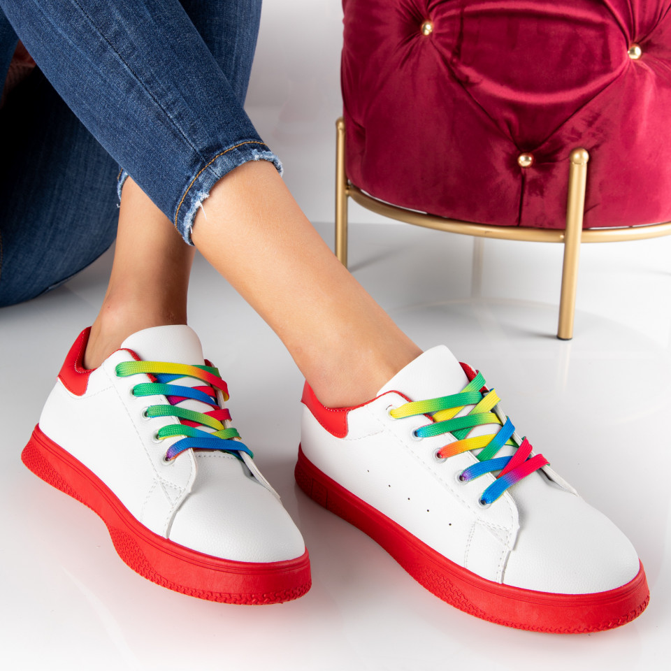 "Pantofi Sport ""MireaFashion"" Cod: HQ-005-22 WHITE/RED (E16)"