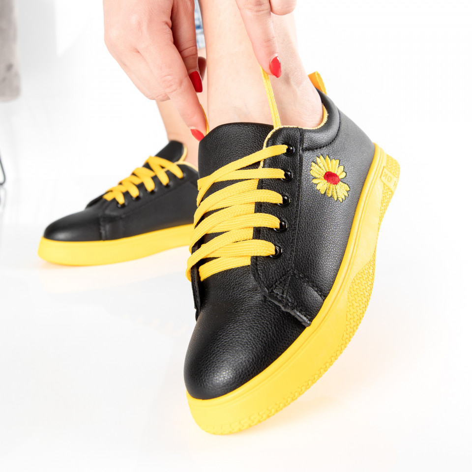 "Pantofi sport""MireaFashion"" Cod: HQ-006-28 BLACK/YELLOW (O15)"