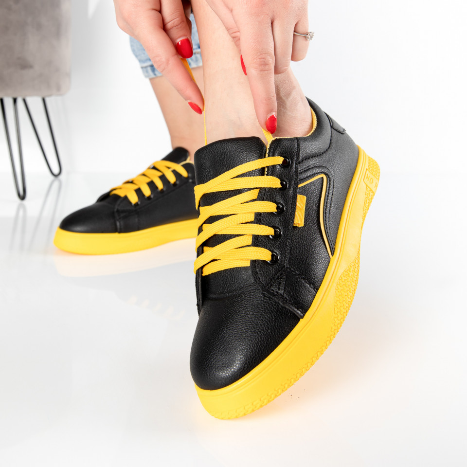 "Pantofi sport""MireaFashion"" Cod: HQ-008-38 BLACK/YELLOW (E2)"