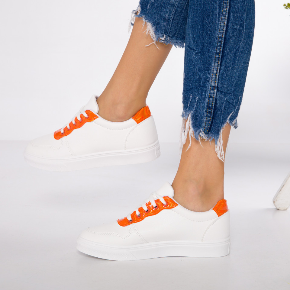 "Pantofi Sport ""MireaFashion"" Cod: HQ-F22 WHITE/ORANGE (K8)"