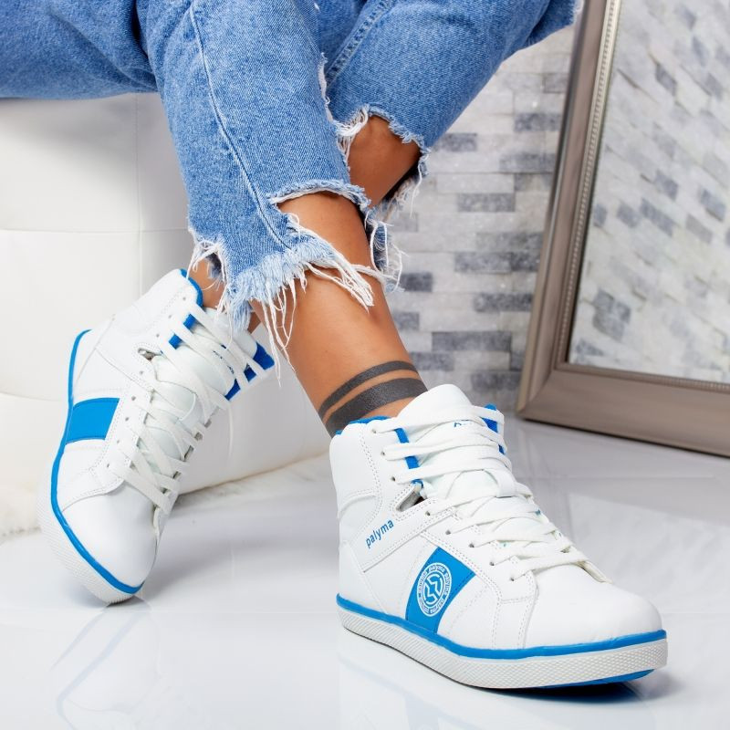 "Ghete Sport ""MireaFashion"" Cod: B9766 WHITE/GEM BLUE (AA 33-34)"
