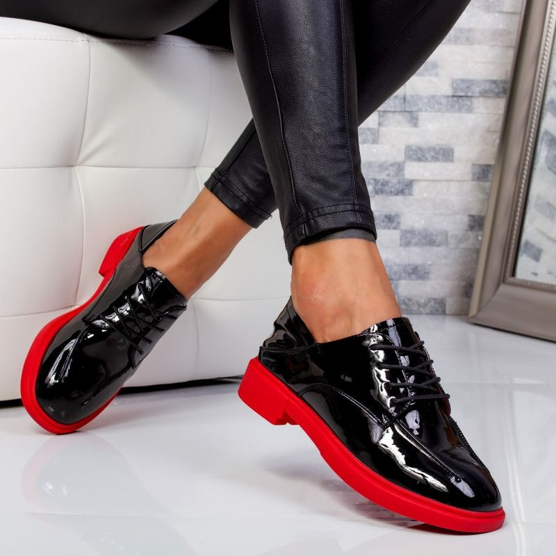 "Pantofi ""MireaFashion"" Cod: A030 BLACK/RED (M3)"