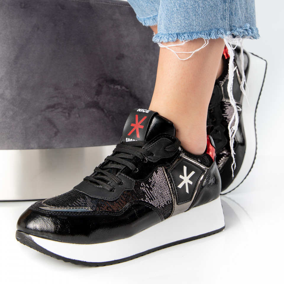 "Pantofi Sport ""MireaFashion"" Cod: 2005 BLACK/RED (H14)"