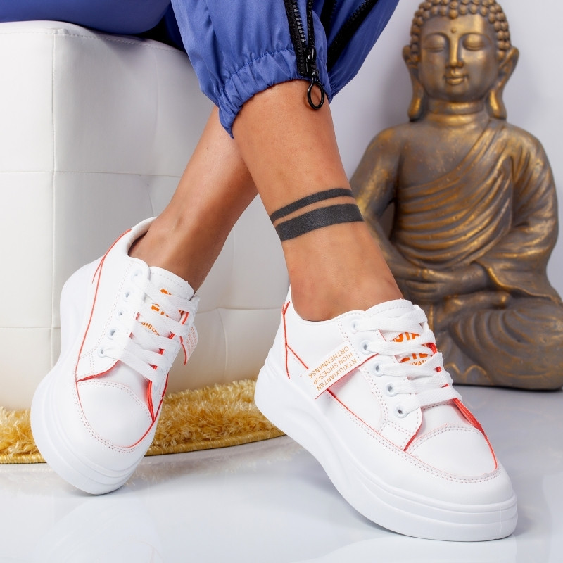 "Pantofi Sport ""MireaFashion"" Cod: 6602 WHITE/ORANGE (FF3)"