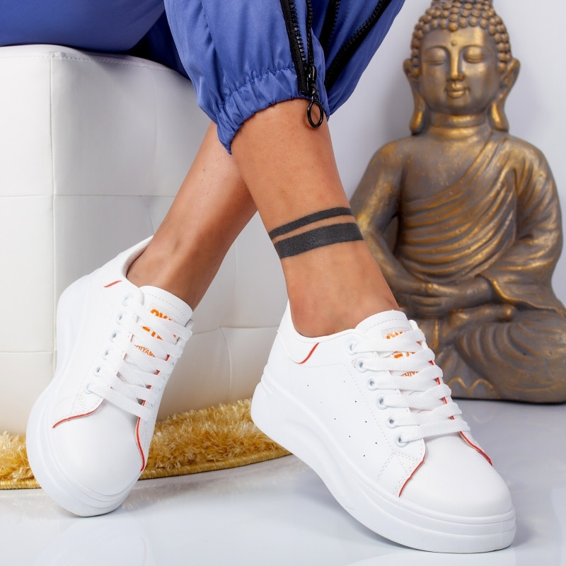 "Pantofi Sport ""MireaFashion"" Cod: 6606 WHITE/ORANGE (F5)"