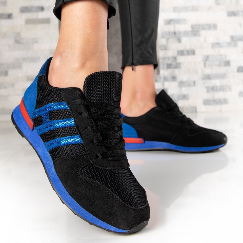 "Pantofi Sport ""MireaFashion"" Cod: B-7 BLACK/BLUE (F16)"