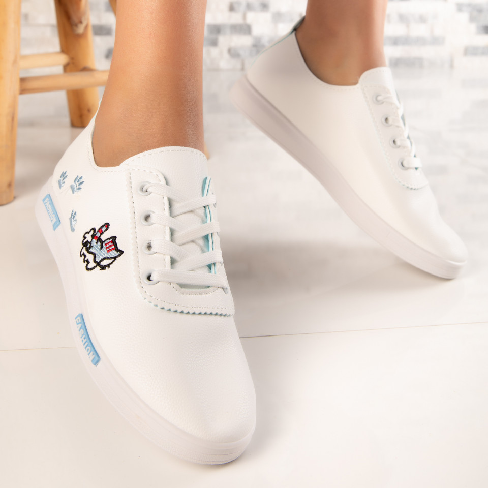 "Pantofi Sport ""MireaFashion"" Cod: HQ-18 WHITE/BLUE (K8)"