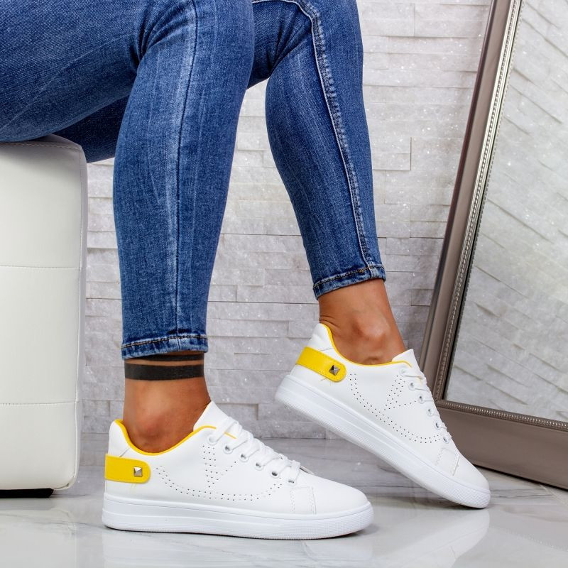 "Pantofi Sport ""MireaFashion"" Cod: J1827 WHITE/YELLOW (O13)"