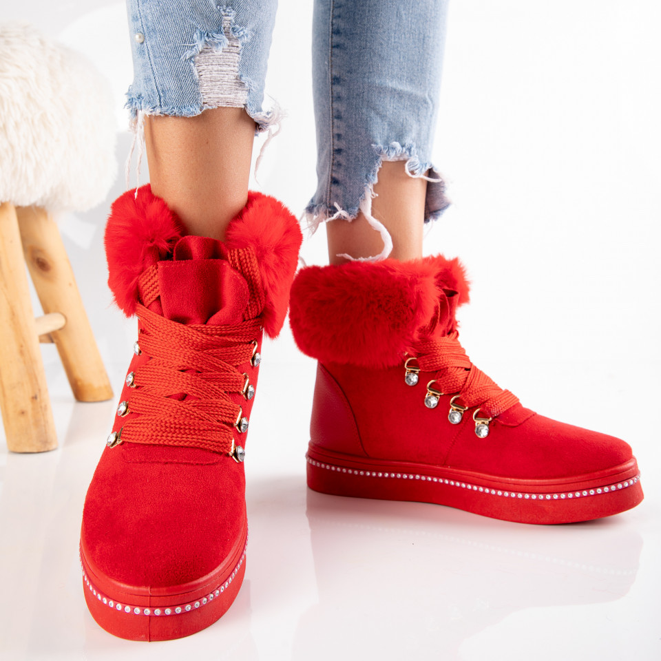 "Ghete ""MireaFashion"" Cod: 610-3 RED (J2)"