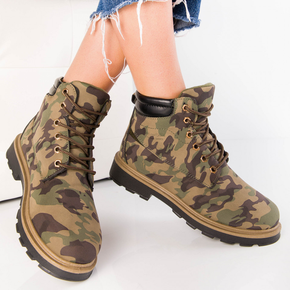 "Ghete ""MireaFashion"" Cod: B20 CAMOUFLAGE GREEN (i10)"