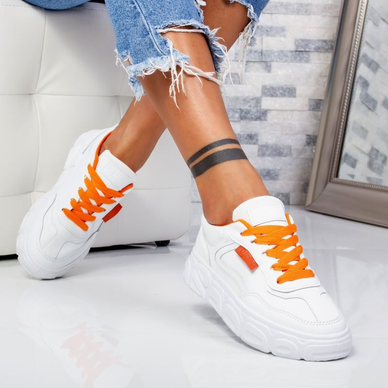 "Pantofi Sport ""MireaFashion"" Cod: 138 WHITE/ORANGE (PP4)"