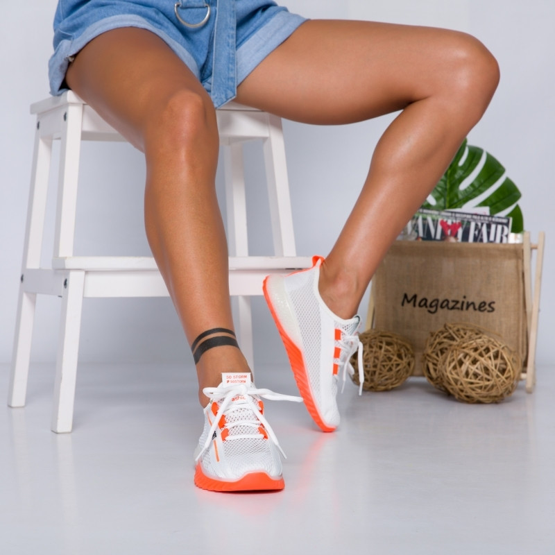 "Pantofi Sport ""MireaFashion"" Cod: 1603 WHITE/ORANGE(JJ4)"