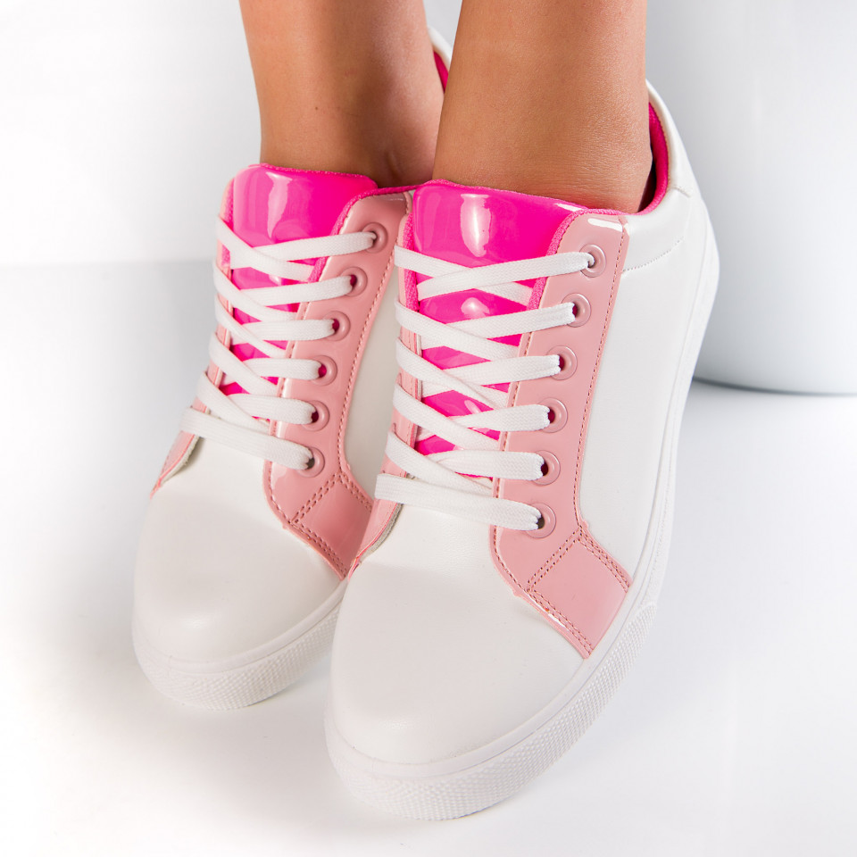 "Pantofi sport""MireaFashion"" Cod: 553-6 WHITE/PINK (K10)"