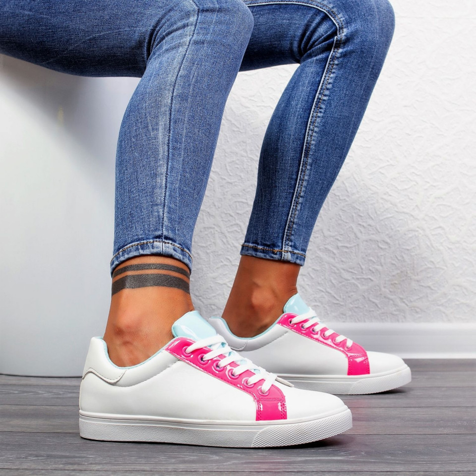 "Pantofi sport""MireaFashion"" Cod: 553-61 WHITE/ROSE (E9-10)"