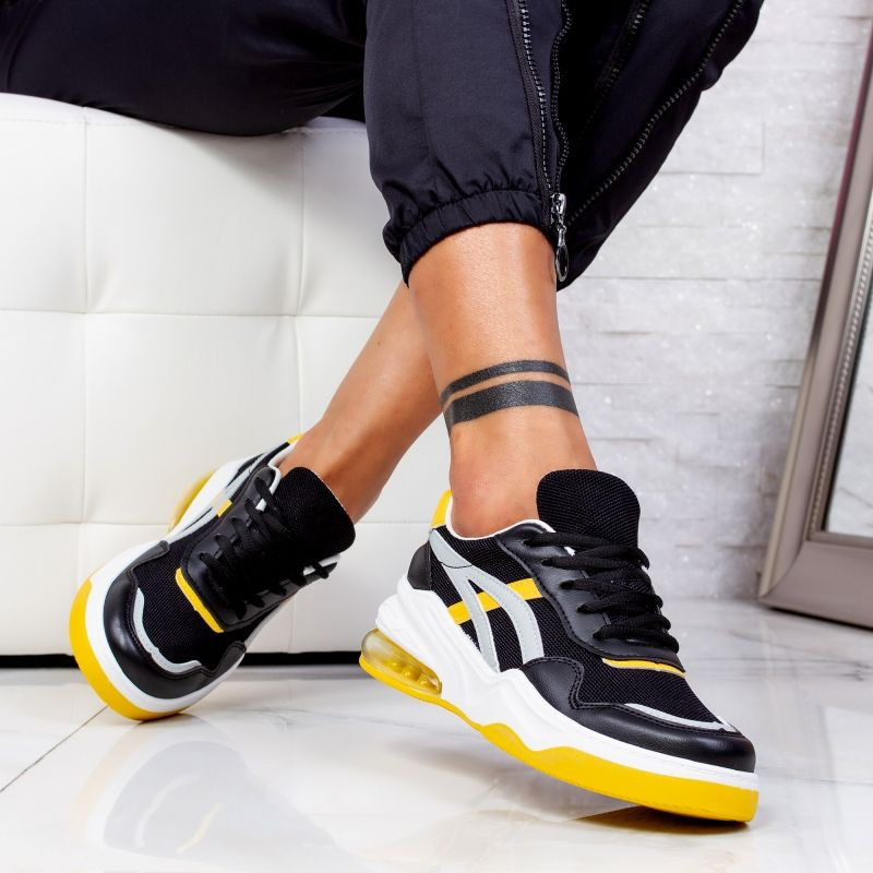 "Pantofi Sport ""MireaFashion"" Cod: 602 BLACK/YELLOW (A26)"