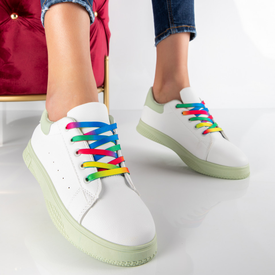 "Pantofi Sport ""MireaFashion"" Cod: HQ-005-21 WHITE/L.GREEN (P13)"