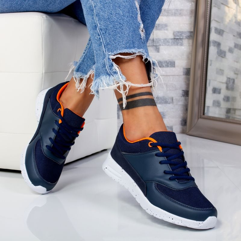 "Pantofi Sport ""MireaFashion"" Cod: X-0007 NAVY/ORANGE ( TT 4 )"