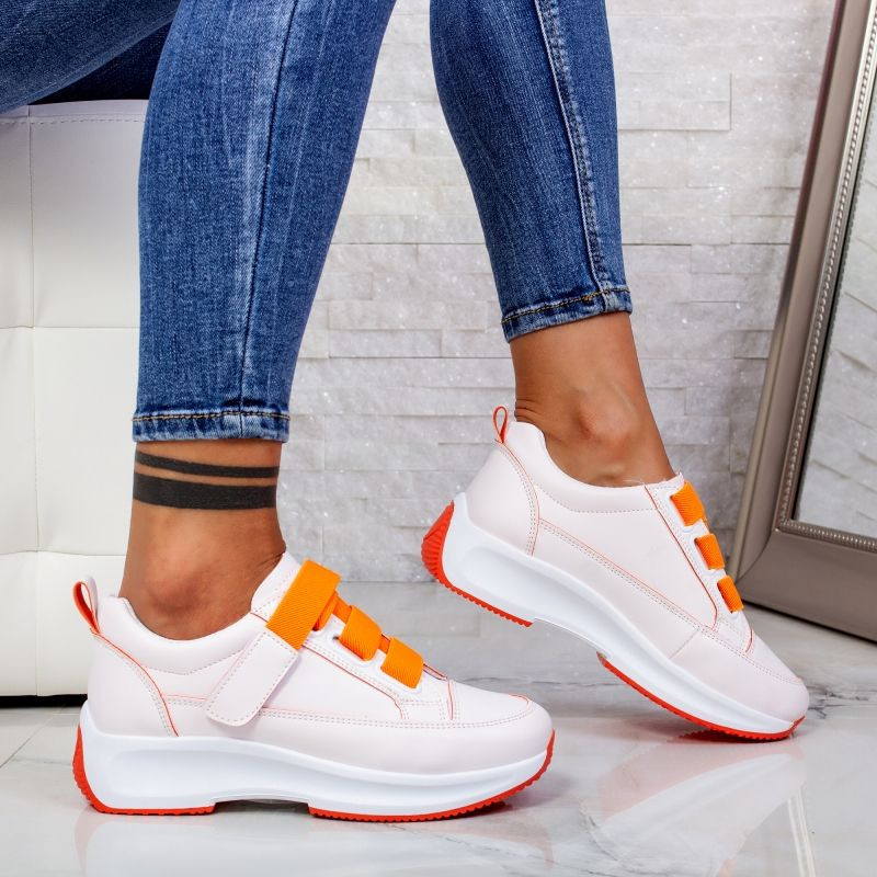 "Pantofi Sport ""MireaFashion"" Cod: XC7 WHITE/ORANGE (H5)"